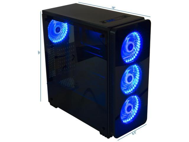 VIVO ATX Mid Tower Computer Gaming Black PC Case with 6 Fan Ports, 3-speed control, USB 3.0 (CASE-V08)