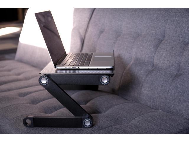 VIVO Black Height Adjustable Folding Laptop Table Tray Desk Stand - Portable Aluminum Notebook Workstation (DESK-L-V016)