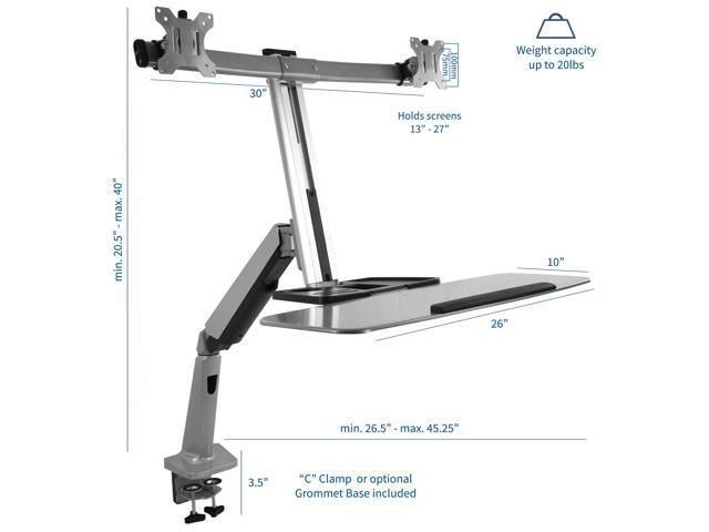 Dual Monitor & Keyboard Sit-Stand Desk Mount | Standing Transition Workstation