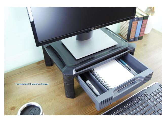 VIVO Height Adjustable Computer Monitor Stacked Desk Riser Tabletop Smart Stand with Storage Drawer (STAND-V000C)