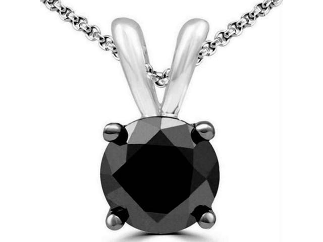 Classic 1.75 Carat Natural 7mm Round Black Spinel Gemstone Necklace In 925 Sterling Silver
