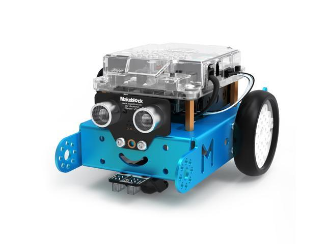 Makeblock mBot Smart Robot Kit, STEM Education, Easy Building and Coding, Entry-Level Programmable and Free APP Control Robot for Kids, Compatible with LEGO(Blue, Bluetooth Version, Family)
