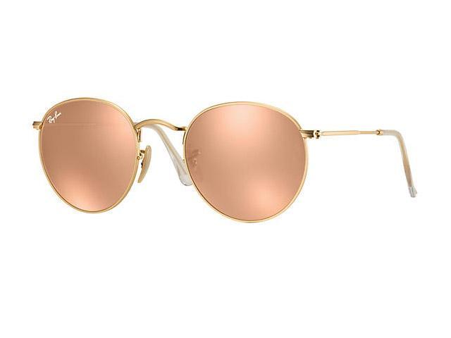 98e480c8fa5e03 Ray-Ban Women s Pink Round Metal Sunglasses RB3447 112 Z2 50mm Matte Gold  ...