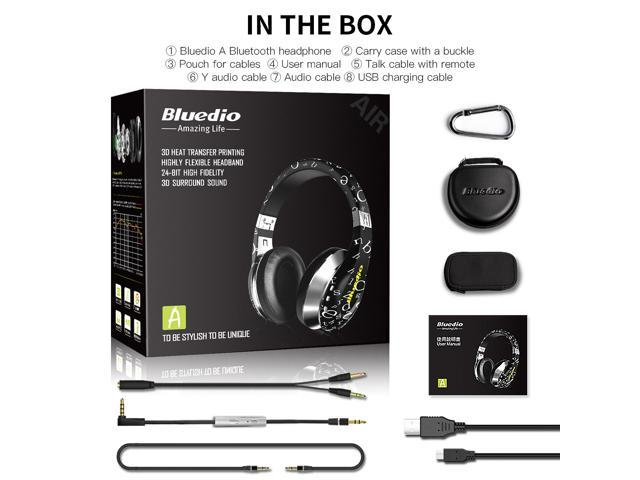 Bluedio A (Air) Fashionable Wireless Bluetooth Headphones with Microphone HD Diaphragm Twistable Headband 3D Surround Sound - Black