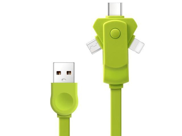 3in1 Rotation Adapter USB Charger Cable (Lightning/Micro USB/Type C USB3.1) for iPhone 7 6 5, Samsung, LG, XiaoMi, Huawei Android Phones and Tablets - Green