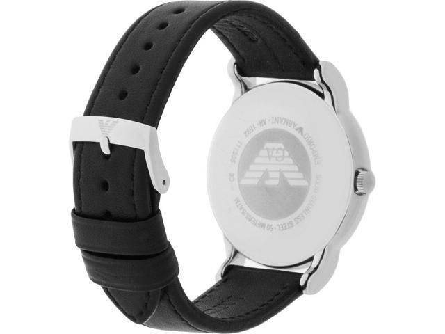 Emporio Armani Men's Classic AR1692 Black Leather Quartz Watch with Black Dial
