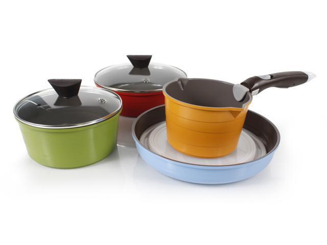 Neoflam Midas Cast Aluminum Cookware 9-Piece Set with Detachable Handle
