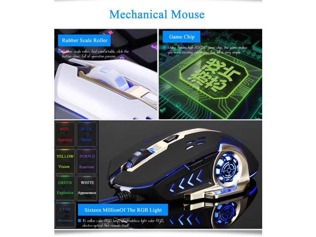 CORN 104 Anti-Conflict Keys  Multi-Color Backlit  Wired Mechanical Gaming Keyboard With Blue Switch And 2400 DPI LED  Mouse Combo