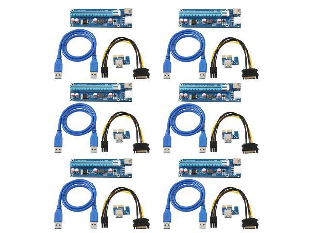 6-Pack Ver006C Mining Dedicated PCIe Riser Card Riser Adapter ...