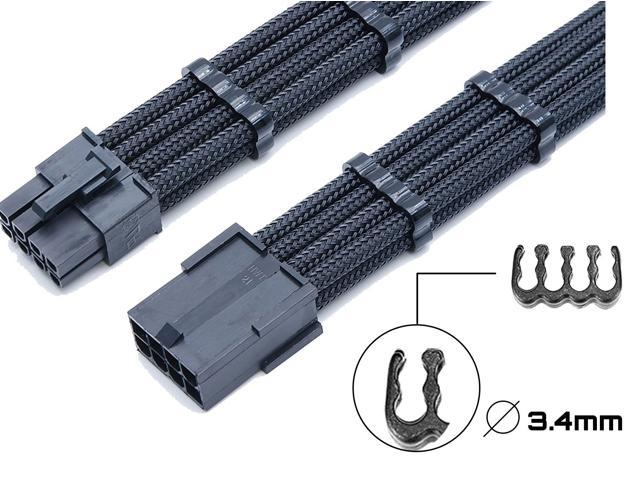 24 Pieces Set = 24-pin x 4, 8-pin x 12, 6-pin x 8 Cable Comb for 3 mm Cable Gesleeved Up To 3.4 mm/0.13inch) black