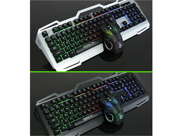 IMICE Ergonomic Design, Mechanical Feeling Cool Exterior Colorful Backlit LED  Waterproof Wired AK-400 Gaming  Keyboard And X9 2400DPI Mouse and Mouse Pad Combo For Office And Game - Grey