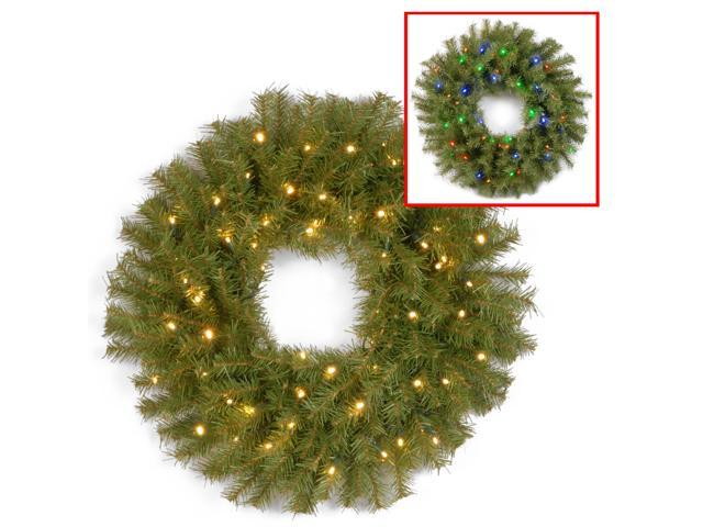 """24"""" Norwood Fir Wreath with Battery Operated Dual Color LED Lights"""