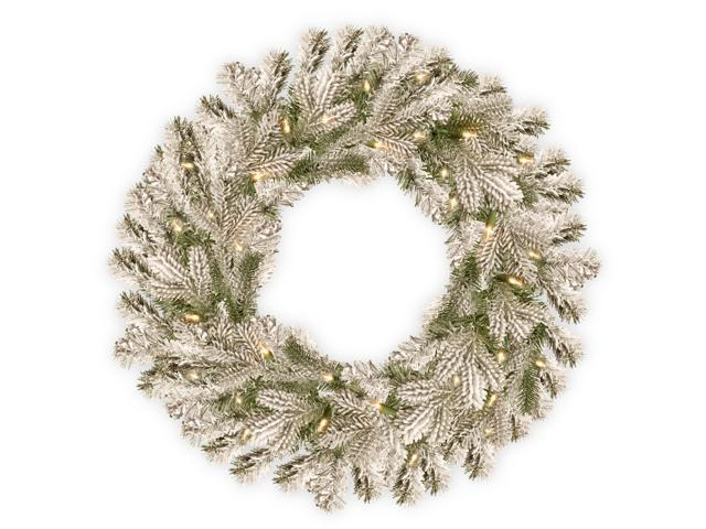 """24"""" Snowy Sheffield Spruce Wreath with Battery Operated Warm White LED Lights"""
