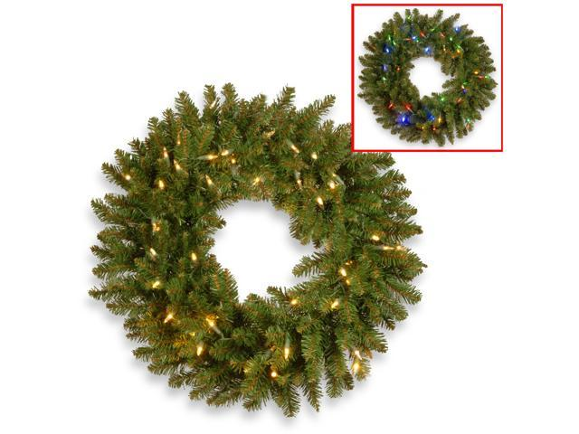 """30"""" Kingswood Fir Wreath with Battery Operated Dual Color® LED Lights"""