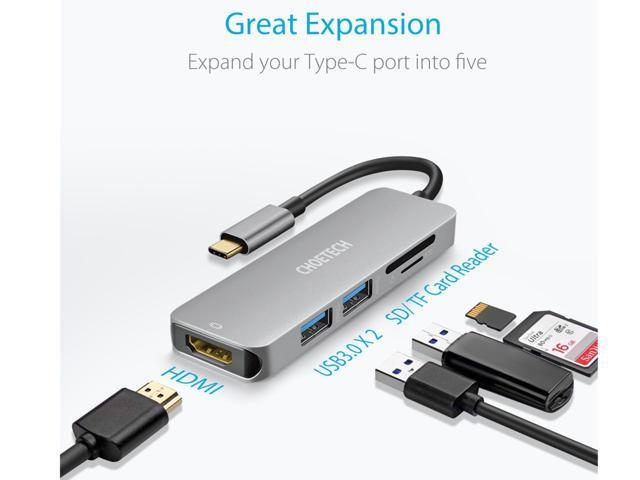 CHOETECH HUB-M08 USB C Multiport Adapter w/ 4K HDMI 30Hz Video Output / 2 USB 3.0 Ports and SD / TF Card Reader - USB C Hub - Compatible iPad Pro 2018 MacBook Pro,Dell XPS 13 15, iMac,Surface Book 2