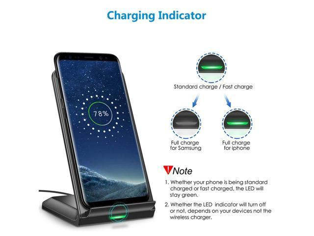CHOETECH T524S Qi Fast Wireless Charger Stand Holder for iPhone Xr, XS, XS Max,X, 8,8 Plus, 10W Fast Wireless Charging for Samsung S9,S9 Plus, Note 9,Note 8,S8,S8 Plus,S7,S7 Edge, S6 Edge Plus -Black