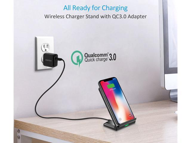CHOETECH Fast Wireless Charging Stand (QC 3.0 Adapter Included) 7.5W Wireless Charger for iPhone Xr, Xs, Xs Max, X, 8, 8 Plus, 10W For Samsung Galaxy S9, S9 Plus, S8, S8 Plus, Note 9, Note 8, S7 Edge