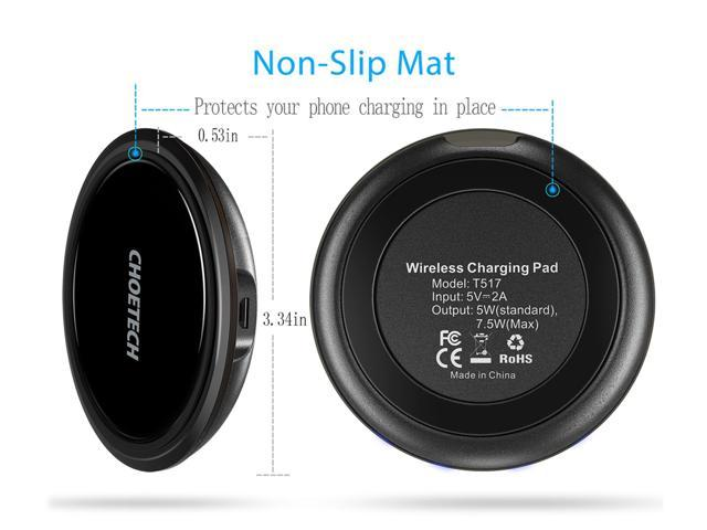 CHOETECH Qi Wireless Charger for iPhone XR, XS, XS Max, X, 8 Plus, Wireless Charging Pad for Samsung Galaxy S9, S9 Plus, Note 9, S8, S8 Plus, Note 8 ,S7,S7 Edge, S6 Edge+, and Qi-enabled devices Black
