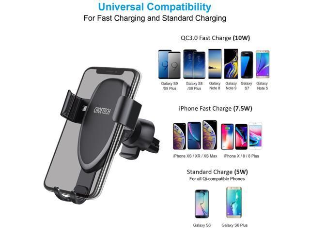 CHOETECH T536S Wireless Car Charger, 7.5W For iPhone XR, XS, XS Max, X 8 8 Plus, 10W Fast Wireless Charger Car Mount Air Vent Phone Holder for Galaxy Note 9 S9 S8 S9 Plus Note 8 S7 S7 Edge - Black