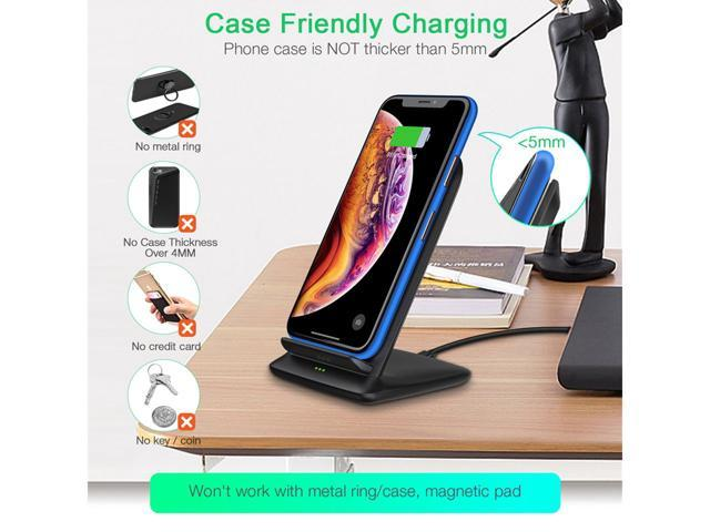 CHOETECH T555S iPhone Wireless Charger Holder -7.5W Fast Wireless Charging for iPhone Xr, Xs, Xs Max, 8 Plus, X -10W For Samsung Galaxy Note 9,Note 8,S9,S9 Plus, S8, S8 Plus, S7, S7 Edge,Note 5 -Black
