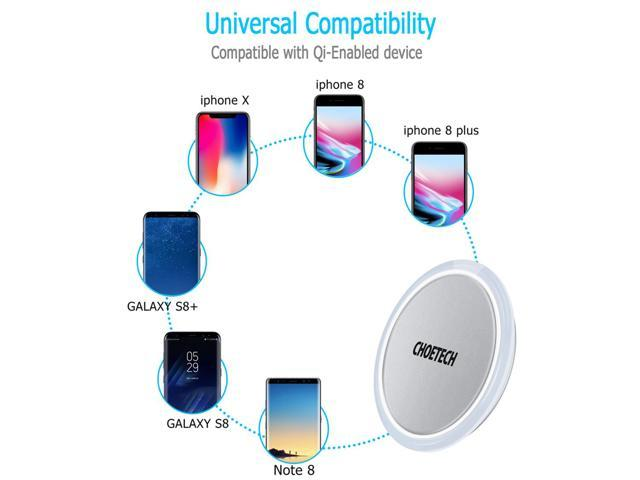 CHOETECH Qi Certified Wireless Charger Pad for iPhone XR, Xs,XS Max, X, 8 Plus, for Samsung Galaxy S9, S9 Plus, Note 9, S8, S8 Plus, Note 8 ,S7,S7 Edge,S6 Edge+, and Qi-enabled devices Silver