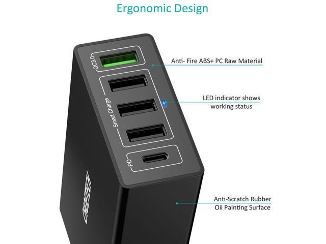 CHOETECH Multi 5-Port 60W Wall Charger Station w/30W Power Delivery / 18W Quick Charge 3.0 / 3  USB A Charging Ports - Fast Charge USB C PD Charger