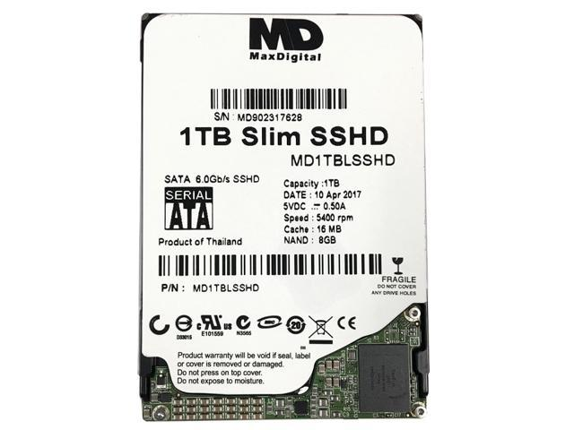 """MaxDigital 1TB 5400RPM 16MB Cache + 8GB NAND SATA III (6.0Gb/s) 7mm 2.5"""" Laptop/Macbook (SSHD) Solid State Hybrid Drive - OEM"""