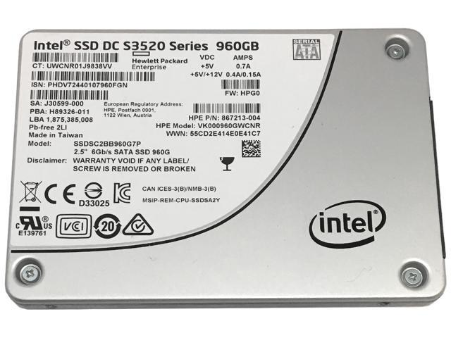 HP / Intel SSD DC S3520 Series 960GB 2.5-inch 7mm SATA III MLC (6.0Gb/s) Internal Solid State Drive (SSD) SSDSC2BB960G7P (867213-004, VK000960GWCNR) - 5 Years Warranty