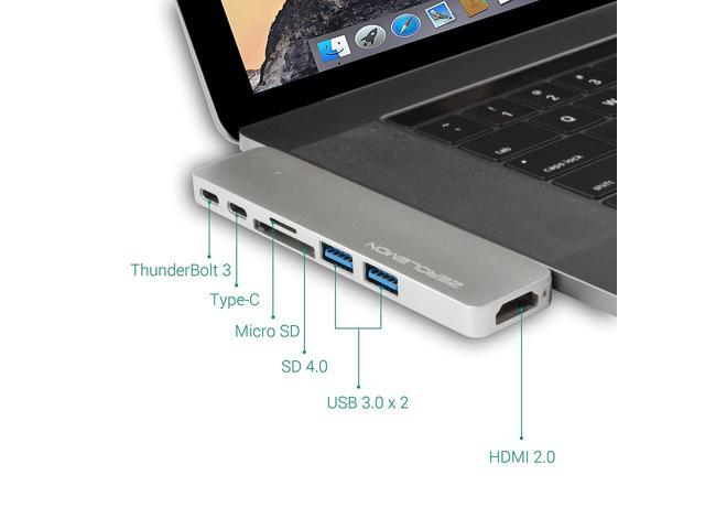 ZeroLemon iMemPro Type-C Hub Adapter for Apple MacBook Pro 2016&2017 with Type C Charging Port, 4K HDMI Video Output, 40Gbs Thunderbolt 3, SD/Micro Card Reader and 2 USB 3.0 Ports –Aluminum Silver