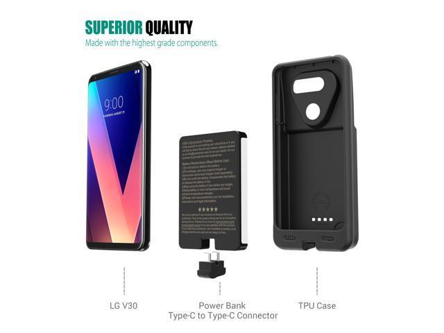 LG V30 Battery Case, ZeroLemon Ultra Power LG V30 7000mAh Extended Battery with Soft TPU Full Edge Protection Case for LG V30 - Black