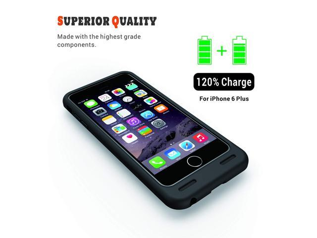 iPhone 6/6s Plus Battery Case, 4000mAh Slim Juicer Double Layer Extended Battery Charging Case for iPhone 6/6s Plus,(Fits All Mobile Carriers of iPhone 6/6s Plus)-Black