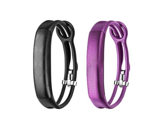 Jawbone UP2 His & Her Lightweight Strap Fitness Trackers for Smartphones - 2 Pack - Black & Purple