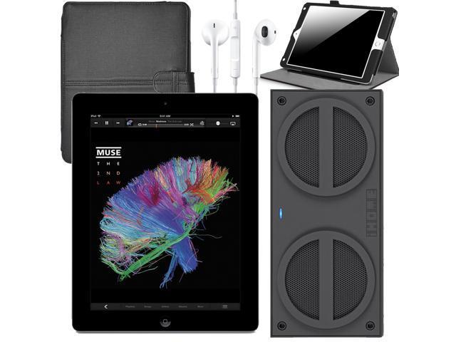 "Refurbished: Apple iPad 4  with Retina Display 9.7"" Tablet 16GB Wi-Fi Black + Bluetooth Speaker + Earpods + Folio Case (MD510LL/A)"