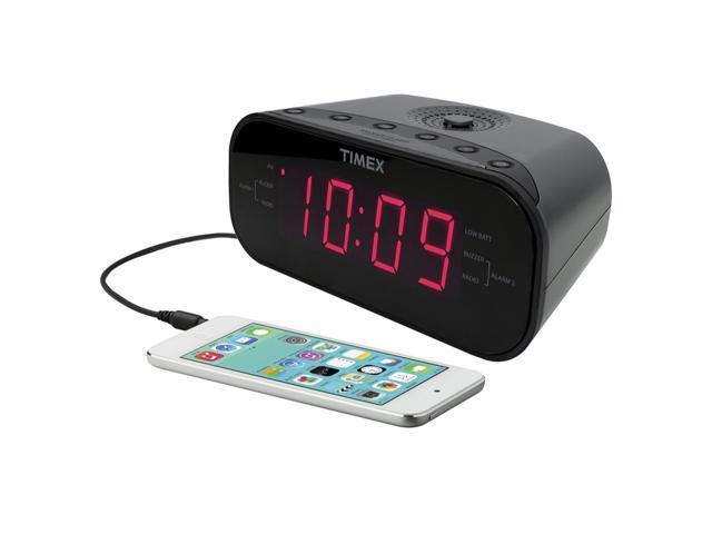 Refurbished: Timex T231GY AM/FM Dual Alarm Clock Radio with 1.2-Inch Green Display and Line-In Jack (Gunmetal) - OEM