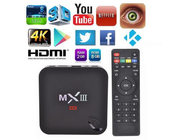MXIII MX3 XBMC 1080P QUAD CORE 1G RAM 8G ROM4.4 Android Smart TV BOX 4K Media Player