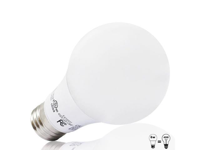 6 Pack 6W UL-listed A19 LED Bulb, 40W Equivalent, 2700K Soft White, E26 Medium Base, 470lm 110V for General Lighting, Non-dimmable