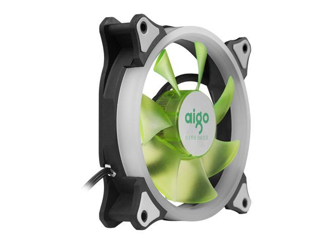 aigo Aurora 120 Angel Eye (Green) - 120mm Cooling Fan with LED Halo Ring, 3-pin/LP4, Anti-Vibration Pads