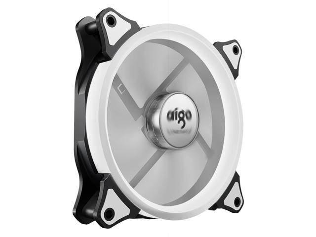 aigo Aurora 120 Angel Eye (White) - 120mm Cooling Fan with LED Halo Ring, 3-pin/LP4, Anti-Vibration Pads