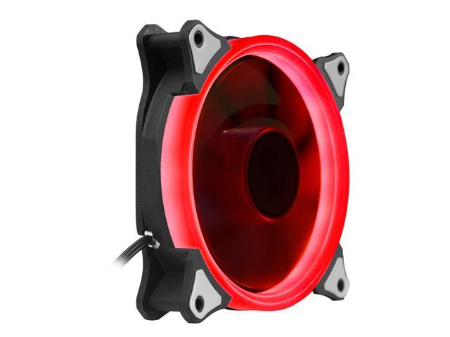 aigo Aurora 120 Angel Eye (Red) - 120mm Cooling Fan with LED Halo Ring, 3-pin/LP4, Anti-Vibration Pads
