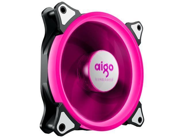 aigo Aurora 120 Angel Eye (Hot Pink) - 120mm Cooling Fan with LED Halo Ring, 3-pin/LP4, Anti-Vibration Pads