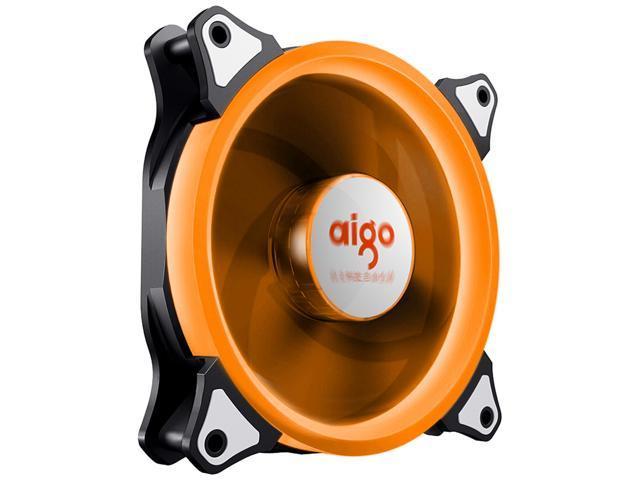 aigo Aurora 120 Angel Eye (Orange) - 120mm Cooling Fan with LED Halo Ring, 3-pin/LP4, Anti-Vibration Pads