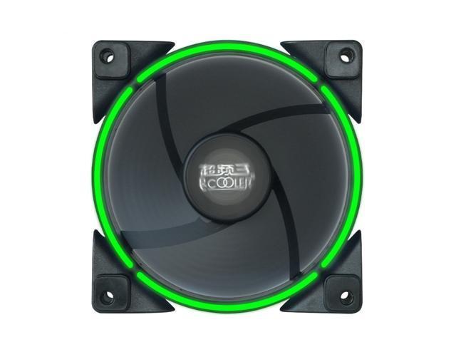 PcCooler Lunar Angel Eye (Green) - 120mm Super Silent Cooling Fan with Slimline LED Halo Ring, Rifle Bearing, 3-pin/LP4, Anti-Vibration Pads