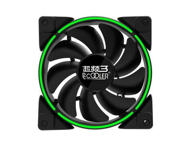 PcCooler Lunar Angel Eye (Green) - 120mm Super Silent Cooling Fan with Slimline LED Halo Ring, Rifle Bearing, 3-pin/LP4, Anti-Vibration Pads
