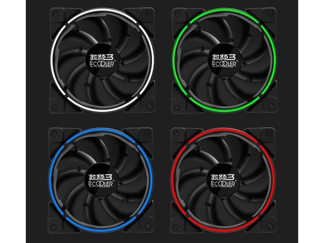PcCooler Lunar Angel Eye (Red) - 120mm Super Silent Cooling Fan with Slimline LED Halo Ring, Rifle Bearing, 3-pin/LP4, Anti-Vibration Pads