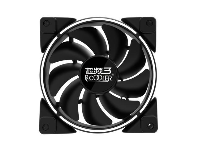 PcCooler Lunar Angel Eye (White) - 120mm Super Silent Cooling Fan with Slimline LED Halo Ring, Rifle Bearing, 3-pin/LP4, Anti-Vibration Pads