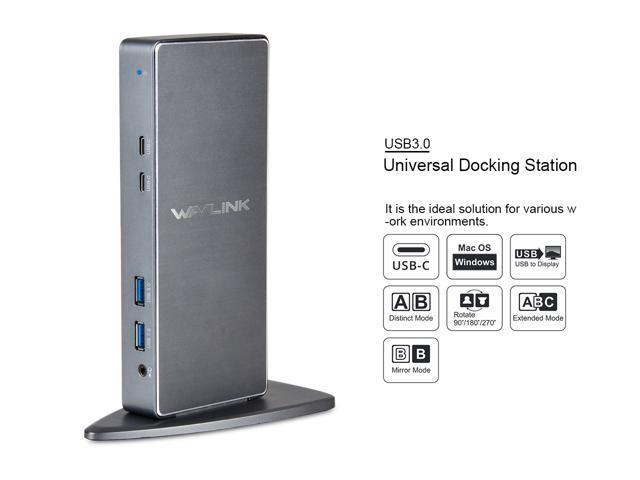 Wavlink USB 3.0 Universal Docking Station USB-C & Vertical Aluminum Laptop Docking Station (Dual Video HDMI and DVI/VGA, Gigabit Ethernet, 2 USB-C 3.1 Ports, 4 USB 3.0 Ports, Audio, Mic, ) DisplayLink