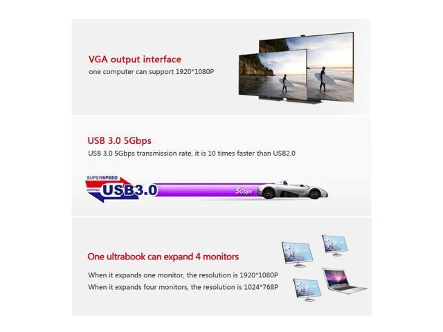 Wavlink 321V USB 3.0 / 2.0 to VGA Multi-display Adapter Converter External 1080P Video Graphic Card for Windows 10 /VISTA/ 7 / 8/8.x/XP - Black