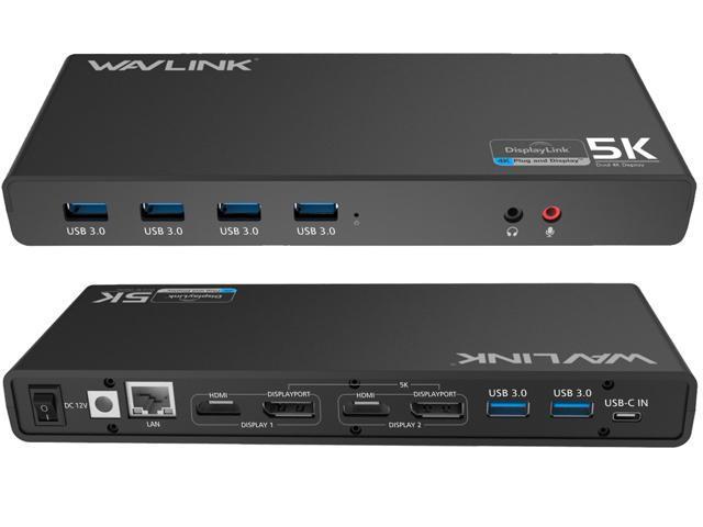 Wavlink Latest Technology Universal 5K USB-C/A Laptop Docking Station, 4K Dual Video Docking Station 2 X HDMI, 2 x DisplayPort, Gigabit Ethernet, USB C in, 6 x USB 3.0, Audio, Mic, For Windows & Mac