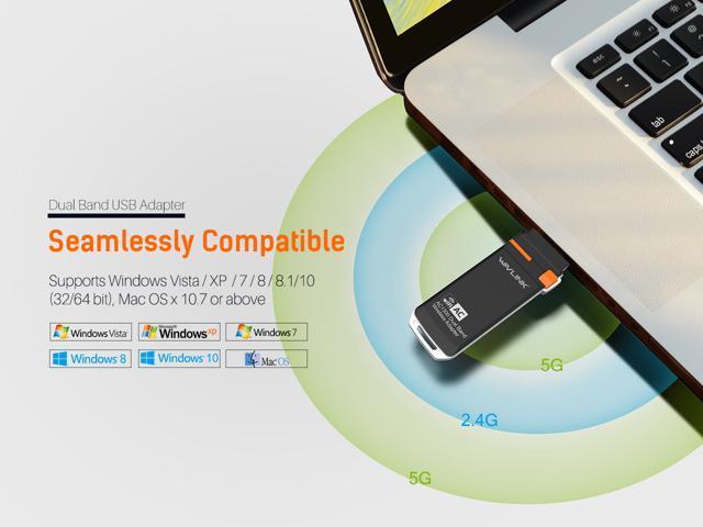 1300Mbps USB WIFI Adapter - Wavlink Dual Band AC1300 Wireless USB