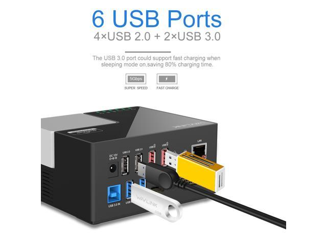 Wavlink USB 3.0 Universal Dual Display Docking Station Support HDMI & DVI / VGA with 6 USB Ports,Quick Charging, Dual Video, Gigabit Ethernet and Audio Jack ,Display Link Certified SuperSpeed Docking